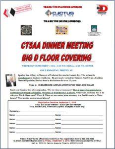 CTSAA DINNER MEETING @ BIG D FLOOR COVERING | Phoenix | Arizona | United States