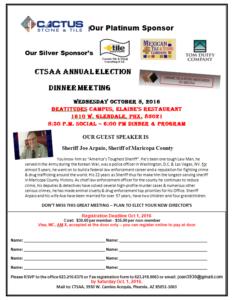 October Dinner/Annual Election Meeting @ Elaine's at the Beatitudes Campus   Phoenix   Arizona   United States
