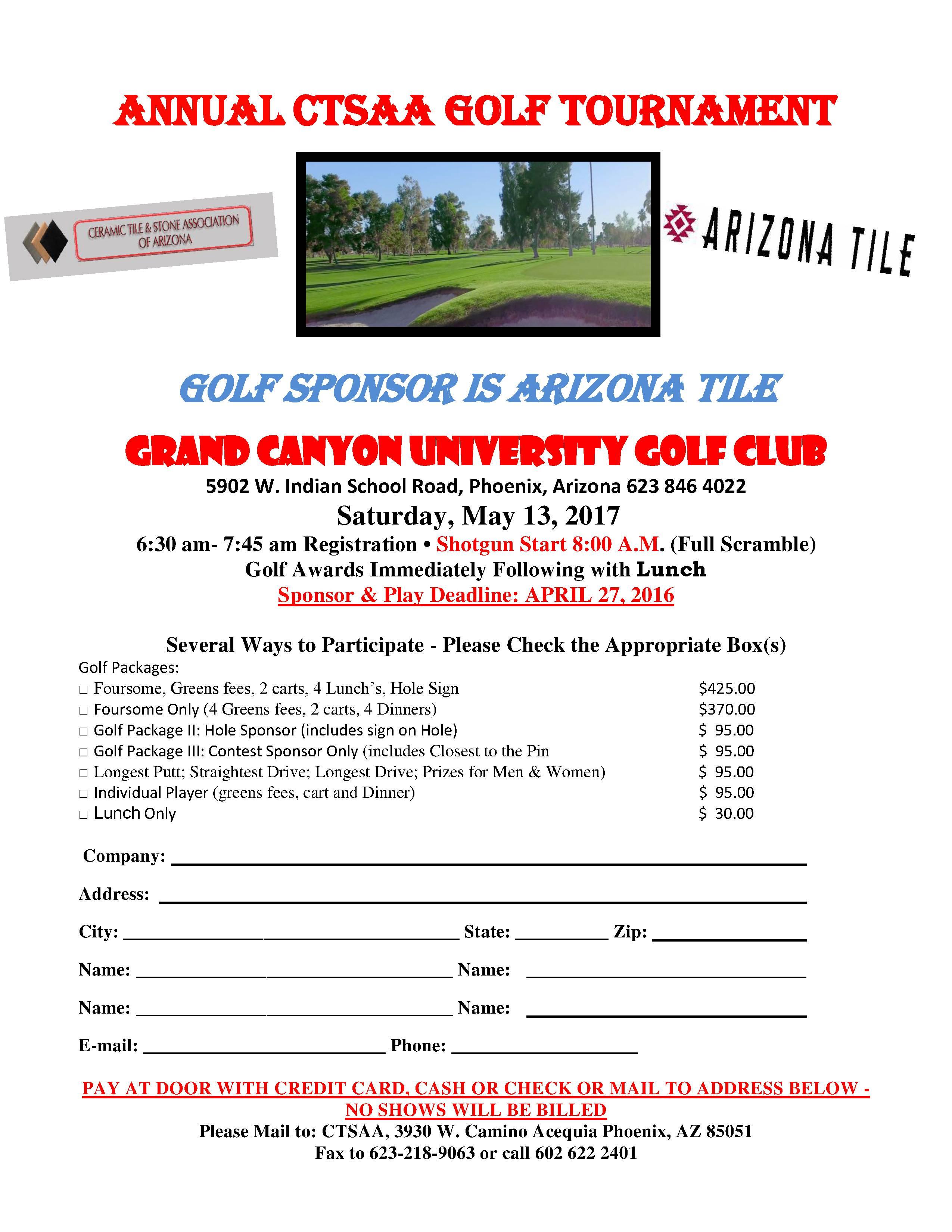Annual Golf Tournament @ Grand Canyon University Golf Course | Phoenix | Arizona | United States