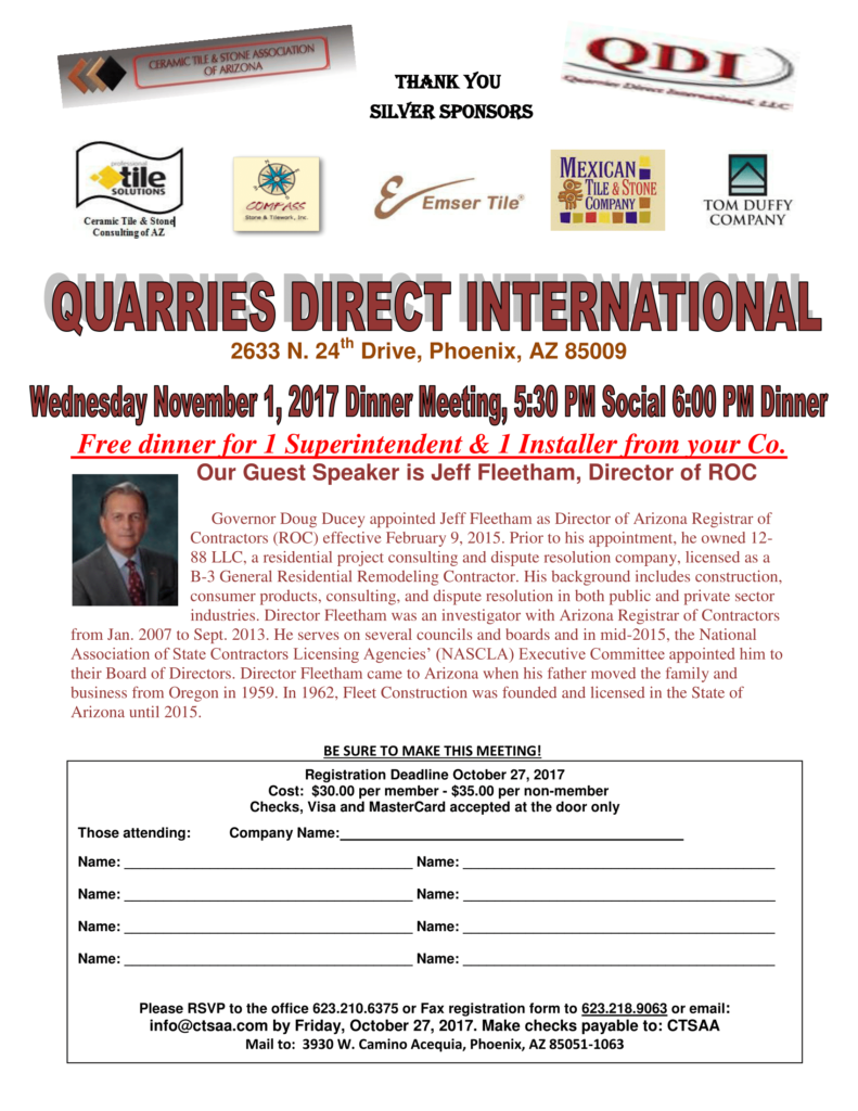 Dinner Meeting @ QDI Quarries Direct International | Phoenix | Arizona | United States