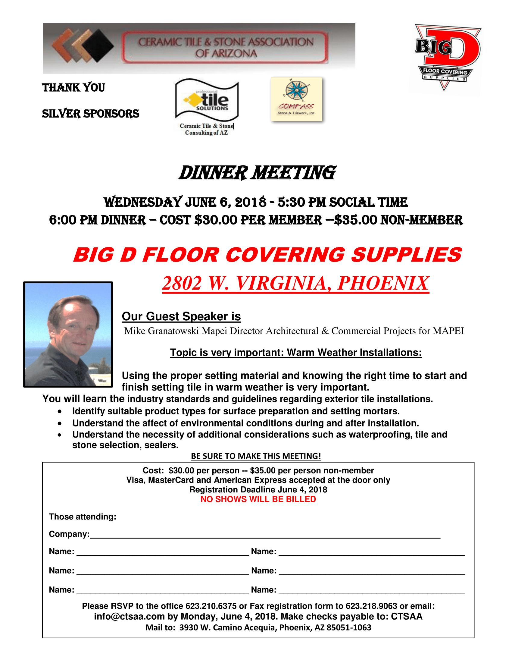 June Dinner Meeting @ Big D Floor Covering Supplies | Phoenix | Arizona | United States