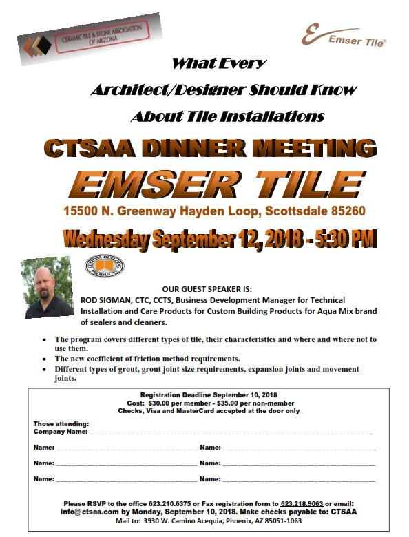 September Dinner Meeting @ Emser Tile   Scottsdale   Arizona   United States