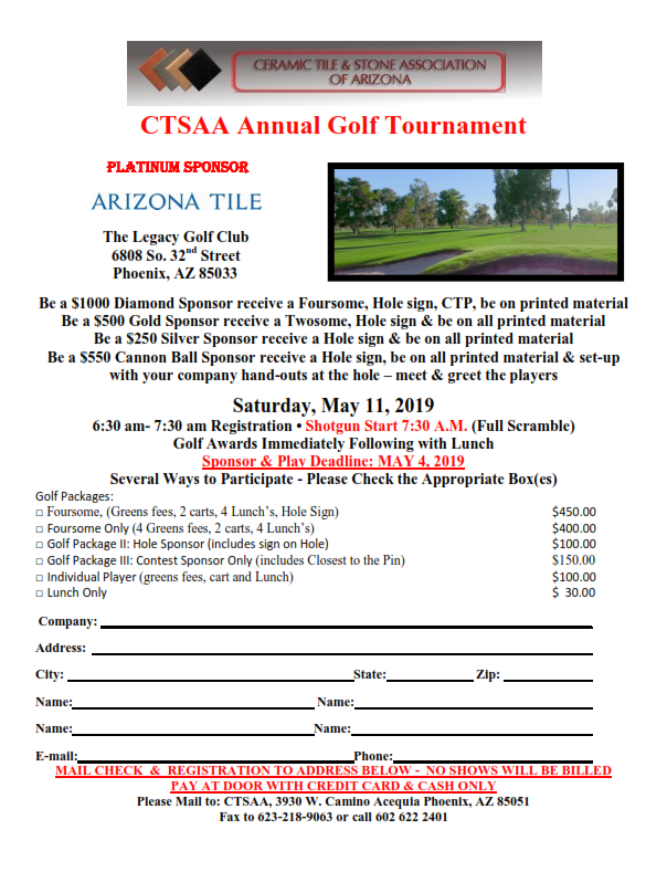2019 CTSAA Annual Golf Tournament @ The Legacy Golf Club