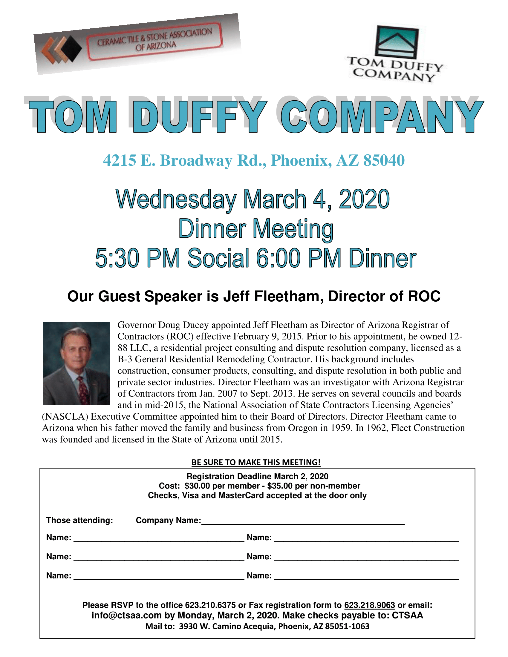 March Dinner Meeting @ Tom Duffy Company