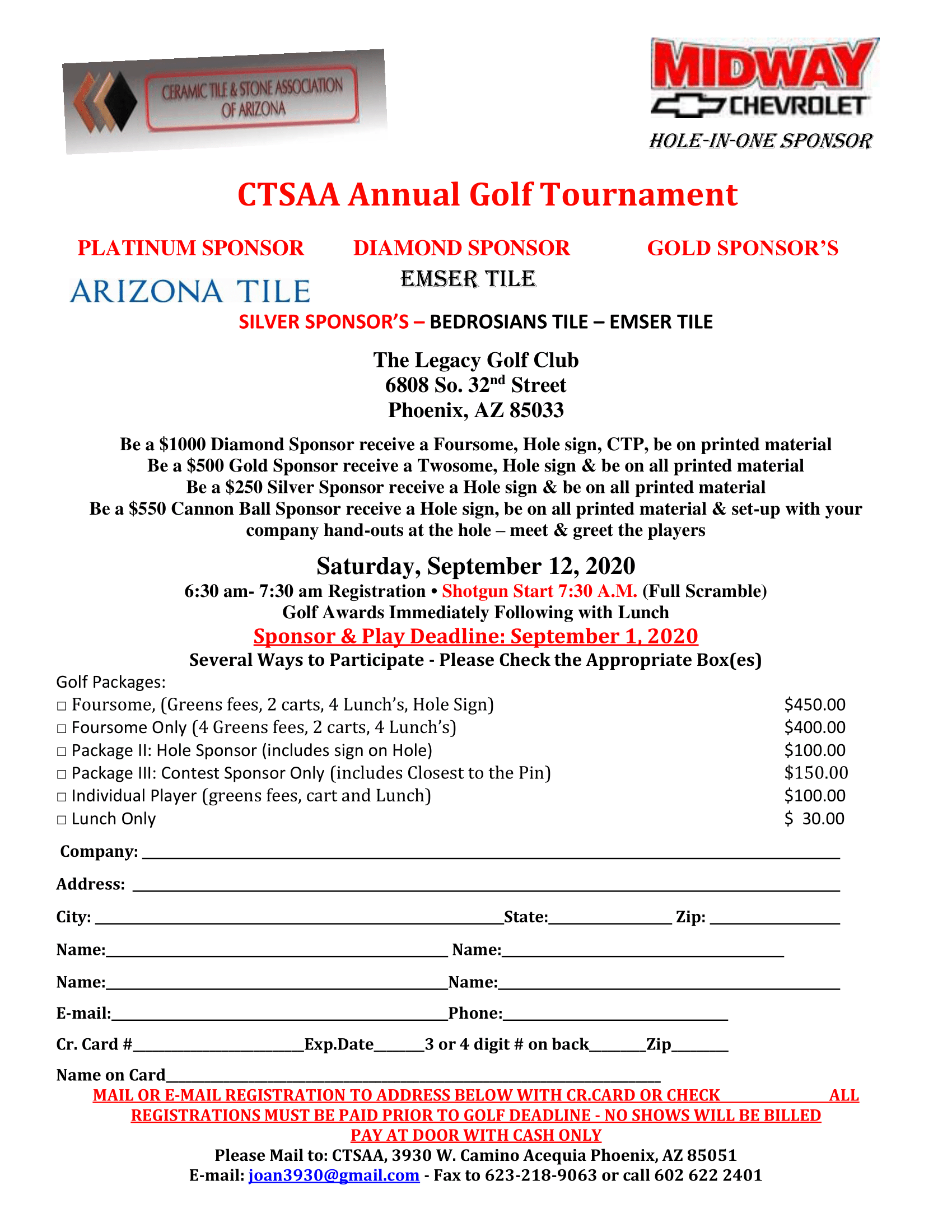 2020 CTSAA Annual Golf Tournament @ The Legacy Golf Club