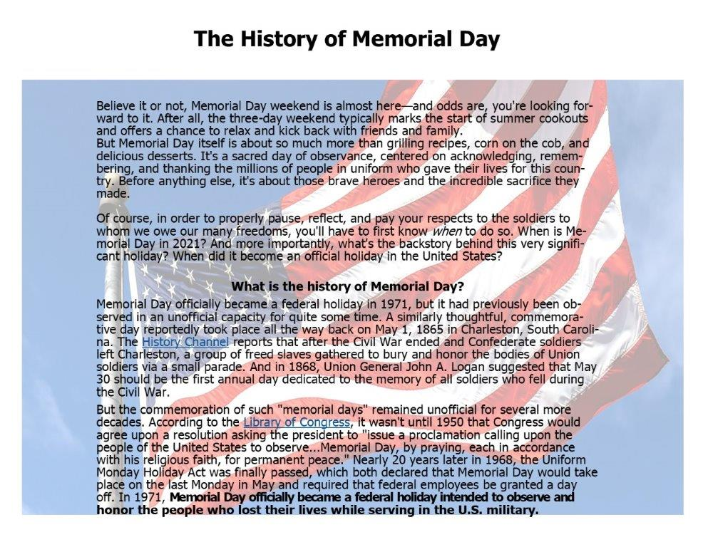 the history of memorial day with a flag background